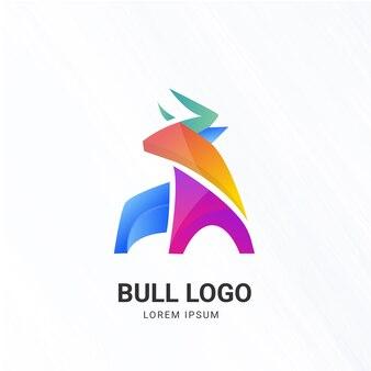 Modelo de logotipo de cor de touro