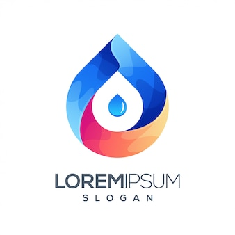 Modelo de logotipo de cor gradiente de água