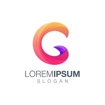 Modelo de logotipo de cor gradiente letra c