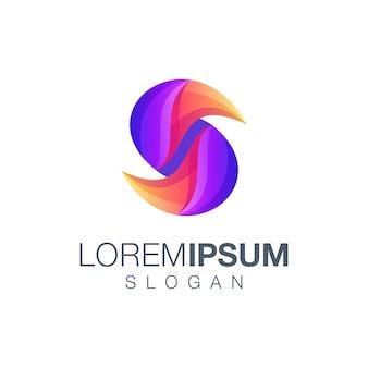 Modelo de logotipo de cor gradiente letra s