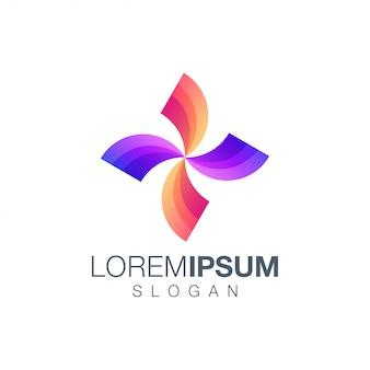 Modelo de logotipo de cor gradiente letra x