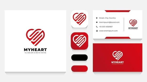Modelo de logotipo de coração abstrato e cartão de visita