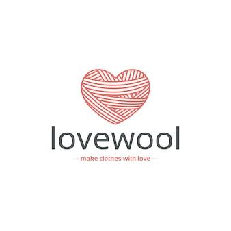 Modelo de logotipo de coração de lã