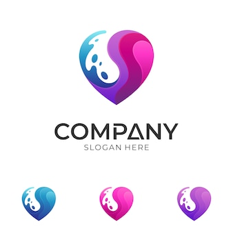 Modelo de logotipo de coração e água
