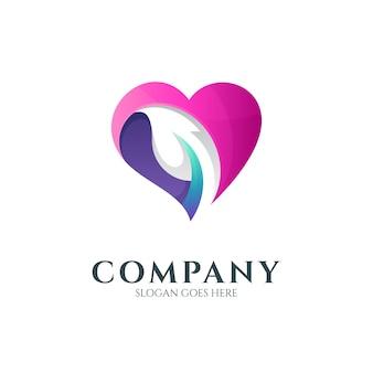 Modelo de logotipo de coração e folha