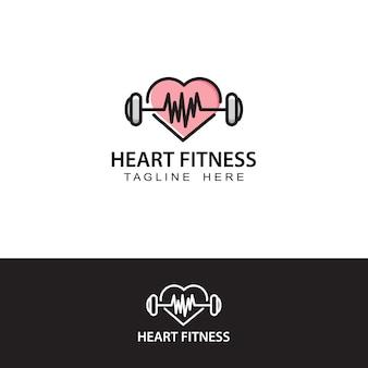Modelo de logotipo de coração fitness