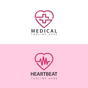 Modelo de logotipo de coração médico