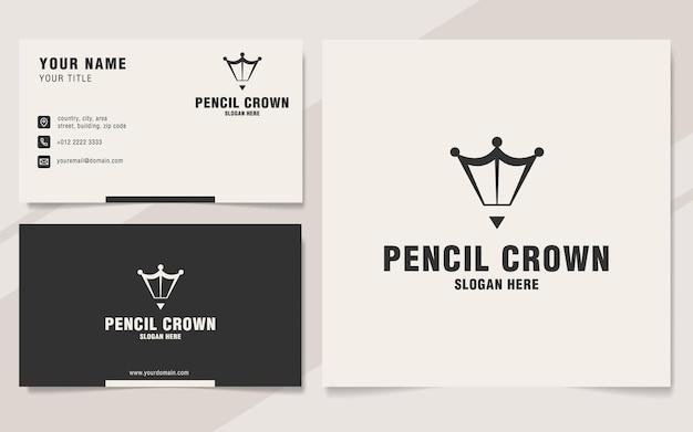 Modelo de logotipo de coroa de lápis em estilo monograma