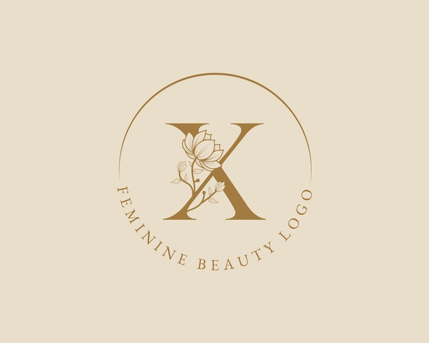 Modelo de logotipo de coroa de louros inicial de letra x botânica feminina para cartão de casamento de salão de beleza de spa