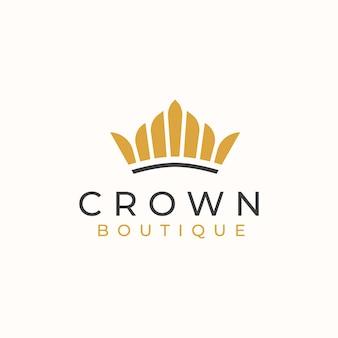 Modelo de logotipo de coroa dourada.