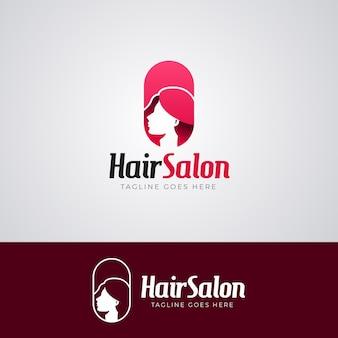 Modelo de logotipo de corte de cabelo em gradiente de cabeleireiro