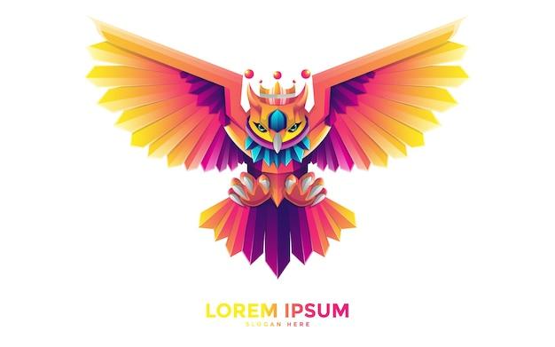 Modelo de logotipo de coruja colorida