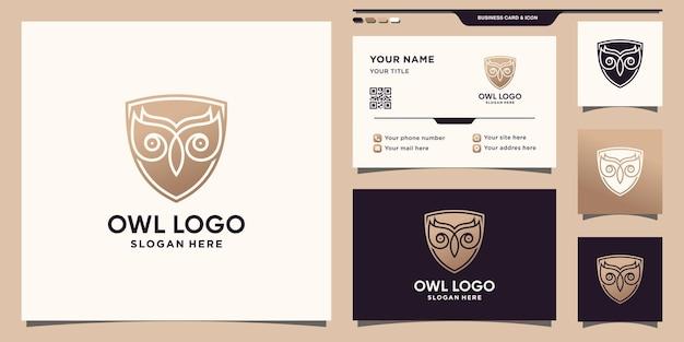 Modelo de logotipo de coruja e escudo com conceito de espaço negativo e design de cartão de visita premium vector
