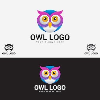 Modelo de logotipo de coruja fofa