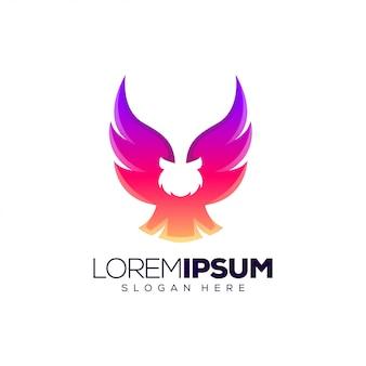 Modelo de logotipo de coruja gradiente