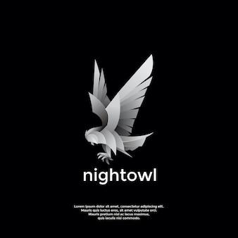 Modelo de logotipo de coruja noturna