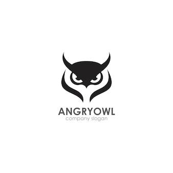 Modelo de logotipo de coruja zangada, emblema, símbolo criativo, ícone