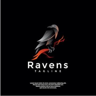 Modelo de logotipo de corvos gradiente