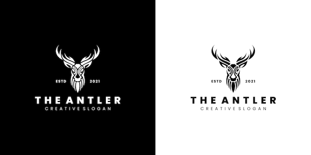 Modelo de logotipo de crachá de estilista de cervos