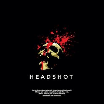 Modelo de logotipo de crânio de headshot