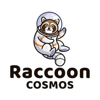 Modelo de logotipo de crianças bonitos de guaxinim cosmos