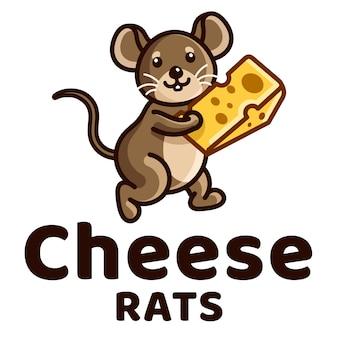 Modelo de logotipo de crianças de queijo ratos