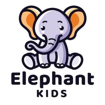 Modelo de logotipo de crianças elefante