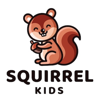 Modelo de logotipo de crianças esquilo
