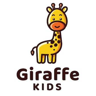 Modelo de logotipo de crianças girafa