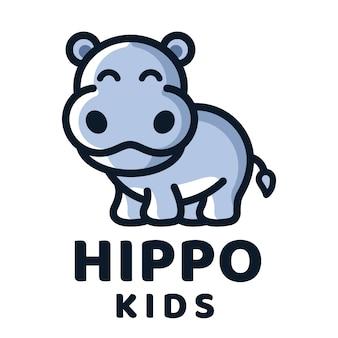 Modelo de logotipo de crianças hipopótamo