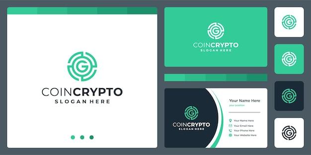 Modelo de logotipo de criptografia de moeda com a letra inicial g. ícone de dinheiro digital vetor, cadeia de blocos, símbolo financeiro.