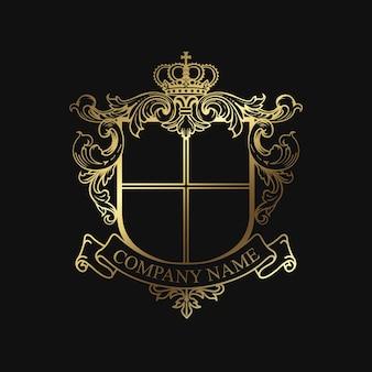 Modelo de logotipo de crista elegante emblema de boutique hotel heráldica heráldica
