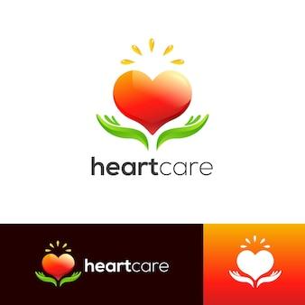 Modelo de logotipo de cuidados com o coração
