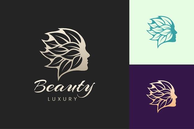 Modelo de logotipo de cuidados de beleza facial em estilo moderno e luxuoso