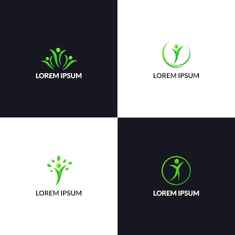 Modelo de logotipo de cuidados de vida de pessoas saudáveis