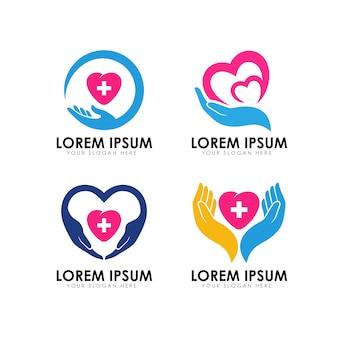 Modelo de logotipo de cuidados do coração.