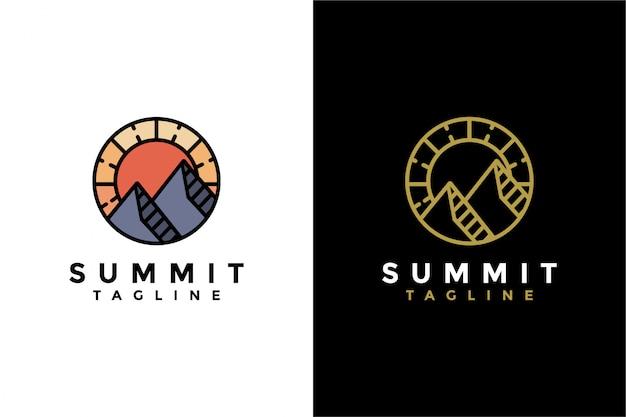 Modelo de logotipo de cume de montanha abstrata
