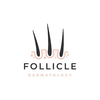 Modelo de logotipo de dermatologia capilar do folículo