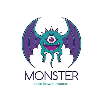 Modelo de logotipo de desenho de monstro de olho