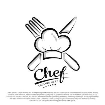 Modelo de logotipo de design de chef de cozinha ilustração em vetor chapéu e espátula de chef