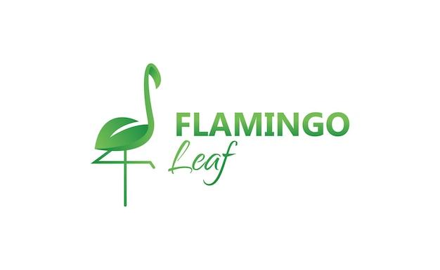 Modelo de logotipo de design de folha de flamingo