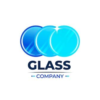 Modelo de logotipo de design plano de vidro Vetor grátis
