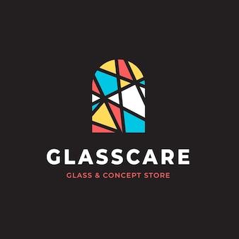 Modelo de logotipo de design plano de vidro