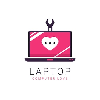 Modelo de logotipo de design plano para laptop