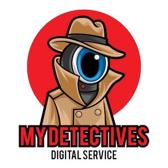 Modelo de logotipo de detetive mascote