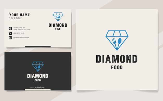 Modelo de logotipo de diamond food em estilo monograma