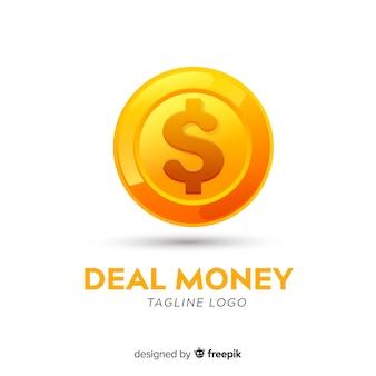 Modelo de logotipo de dinheiro com moedas