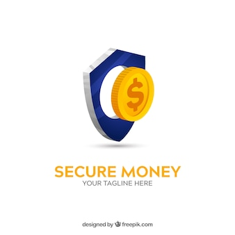 Modelo de logotipo de dinheiro seguro