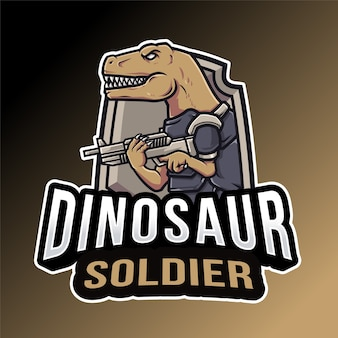 Modelo de logotipo de dinossauro soldado