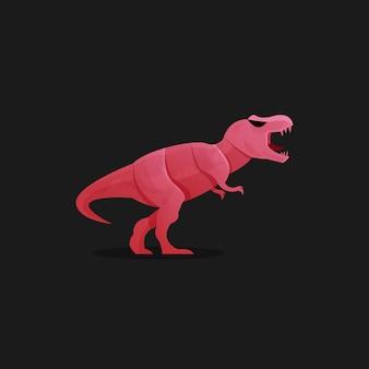 Modelo de logotipo de dinossauro vermelho